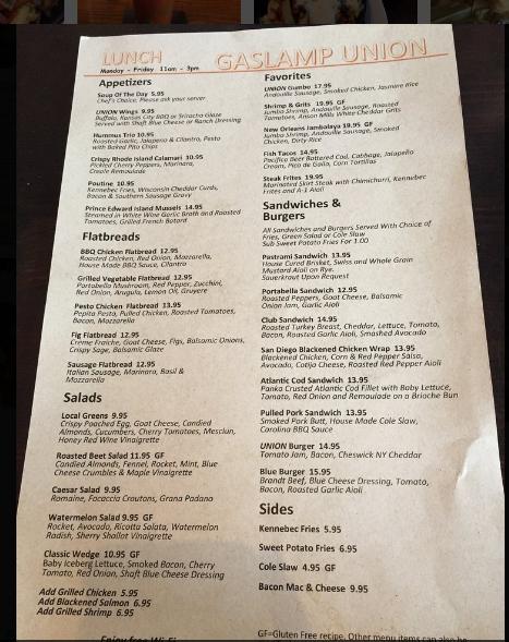 union menu