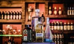 Liquor bottles at a bar