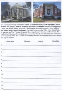 Am Legion Memorial Petition