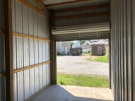 Inside 10' x 19' storage unit with roll up door