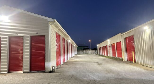 Multiple Storage Units at Red Barn Storage in Davenport, Iowa with lights on