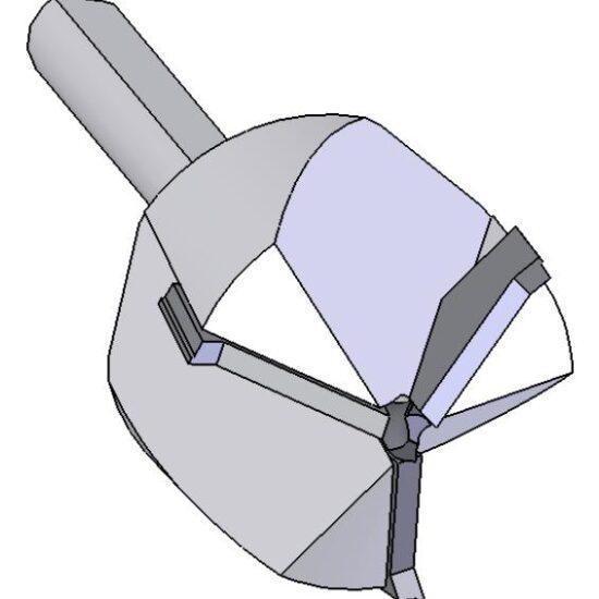 3-WING, CARBIDE TIPPED, W/FLAT, 2-1/8″c X 3/4″sh X 6″oal 1