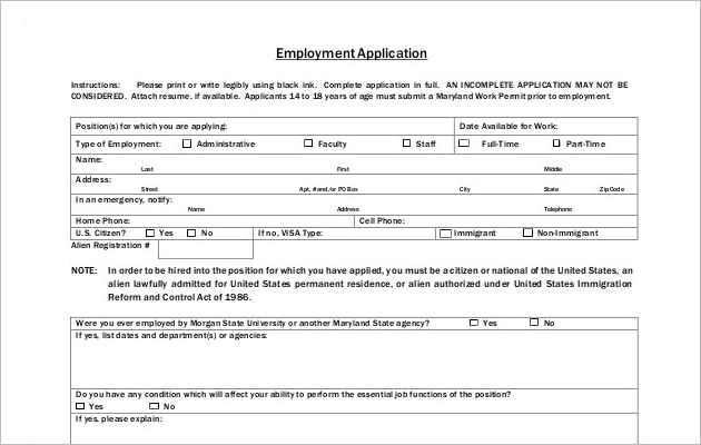 Application for Employment Template