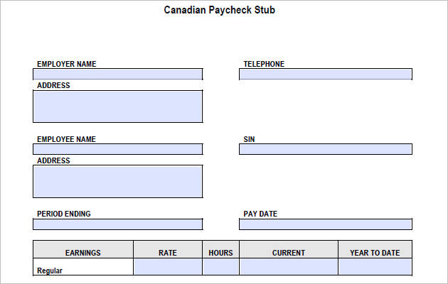Canadian Pay Stub Template