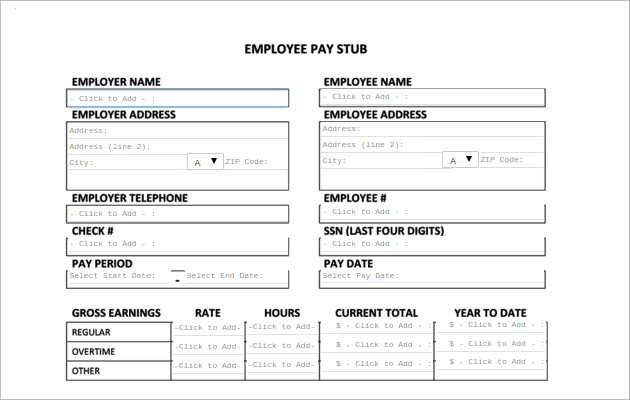 Create Employee Paystub Template Free Online