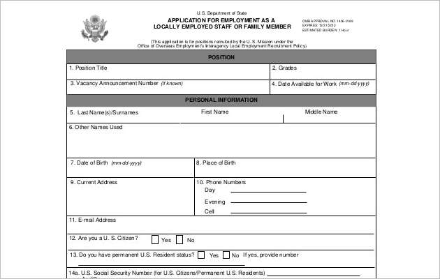 Example Blank Employment Application for Staff Free Download