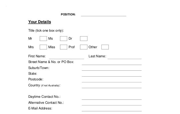 Example Generic Job Application Template Free Download