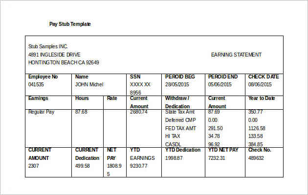 Free Download Company Pay Stub Template DOC