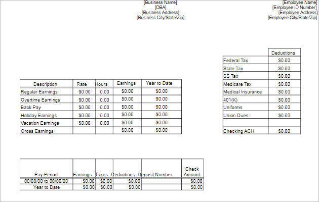 Free Pay Stub Template for download
