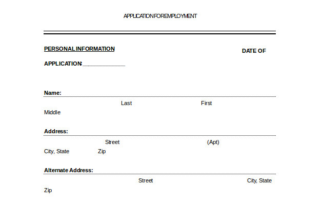 Free Printable Employement Application Docement