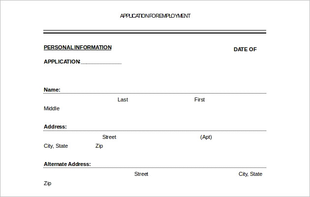 Free Sample Employement Application Letter Template Download