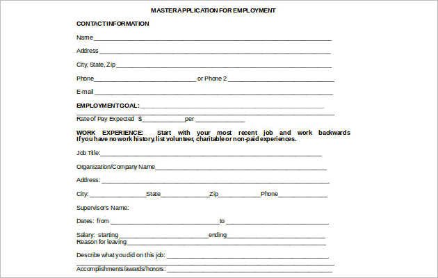 Master Employment Application Microsoft Word Template