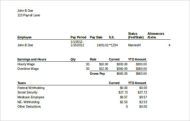 Payroll Template with Stubs MS Excel Download