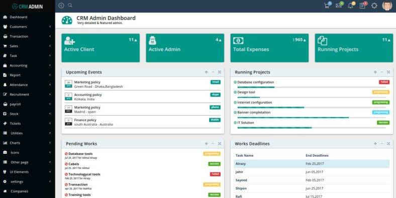 Bootstrap CRM Admin Template
