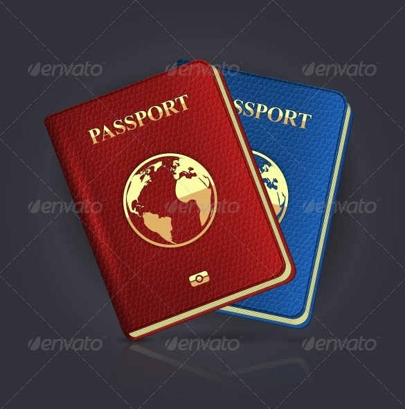 Blank Abroad Passport Template EPS Format Download