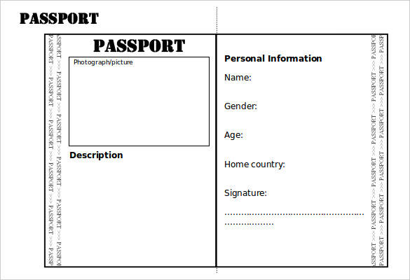 Editable Double Sided Passport Writing Frame Template Word Doc