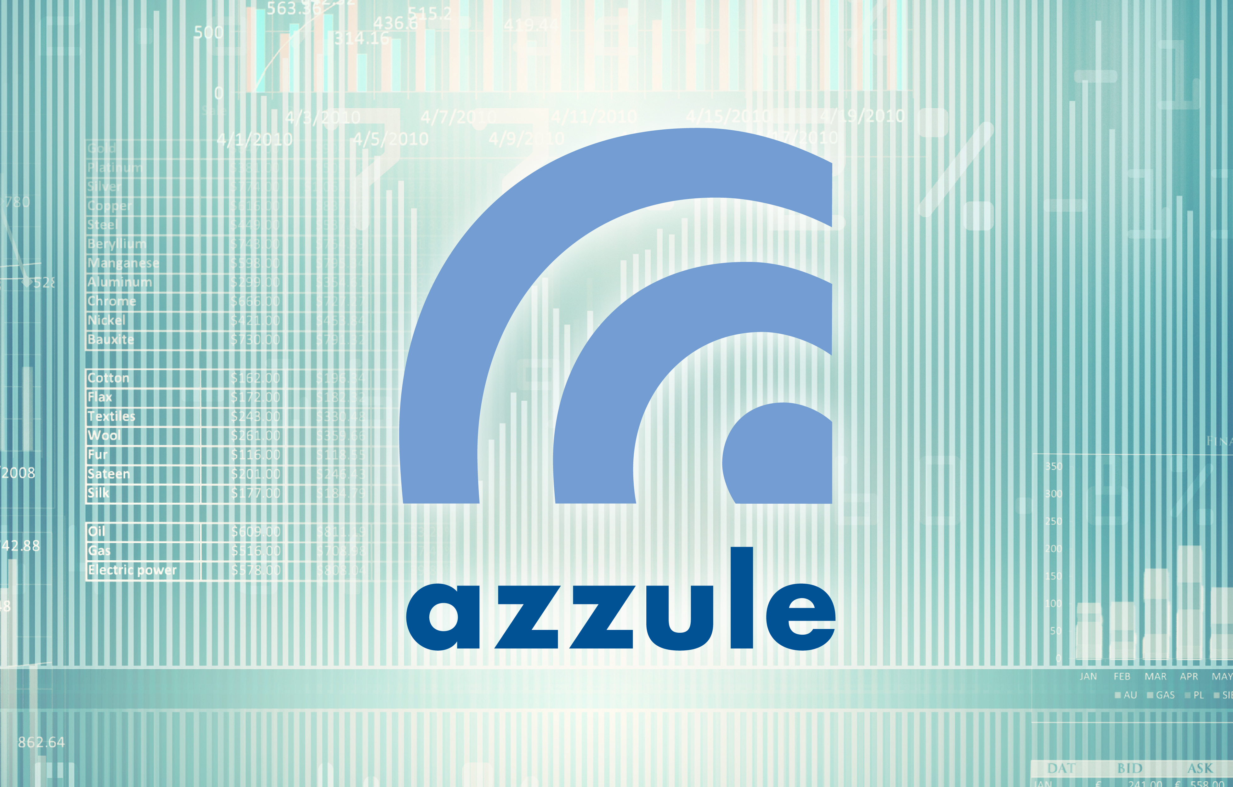 Azzule Systems, Blue Azzule Graphbic and Azzule Logo Type with Technology Background Graphics