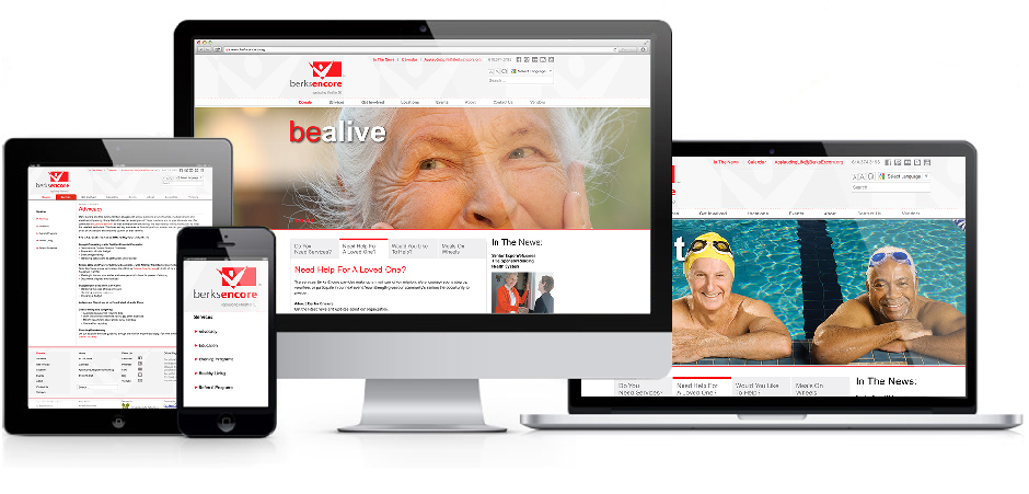 Berks Encore, website demonstration on tablet, mobile and computers