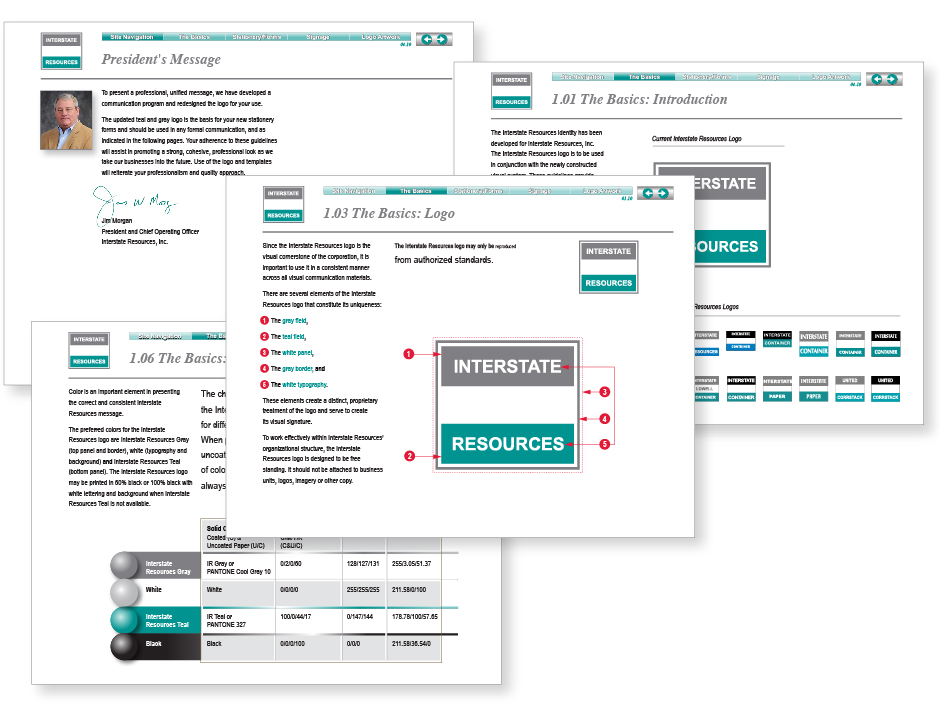 Interstate Resources, identity guidelines, four sample pages