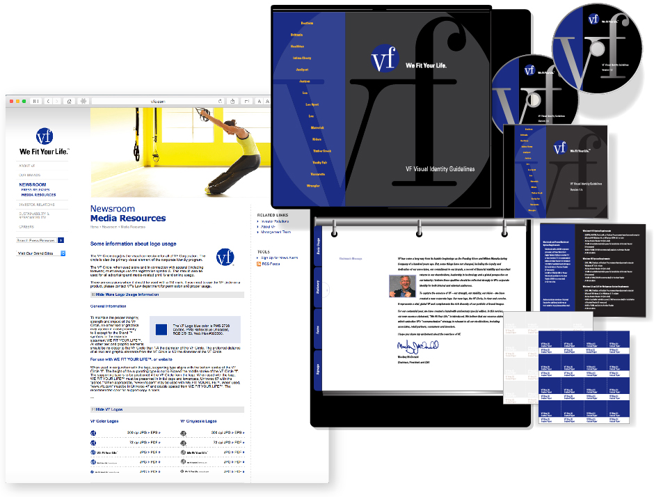VF Corporate Identity, print manual, cd and online, along with color swatches
