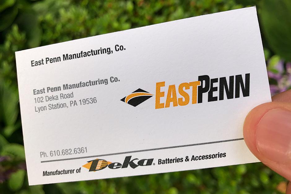 East Penn Business Card, Deka orange and black on white card