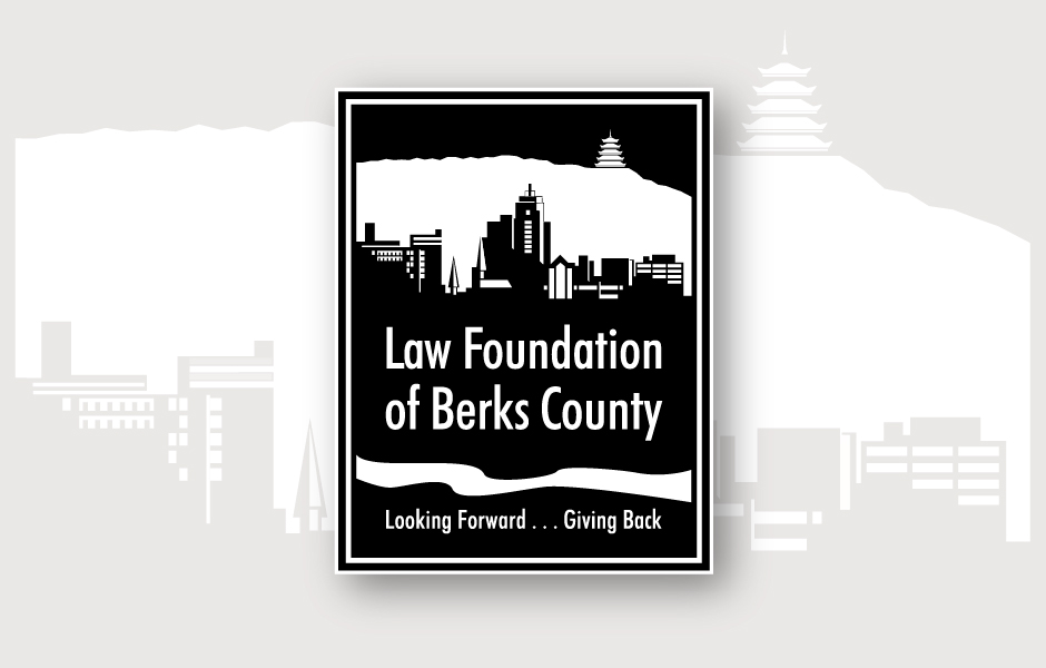 Law Foundation of Berks County, Logo, with City of Reading Background, black & white