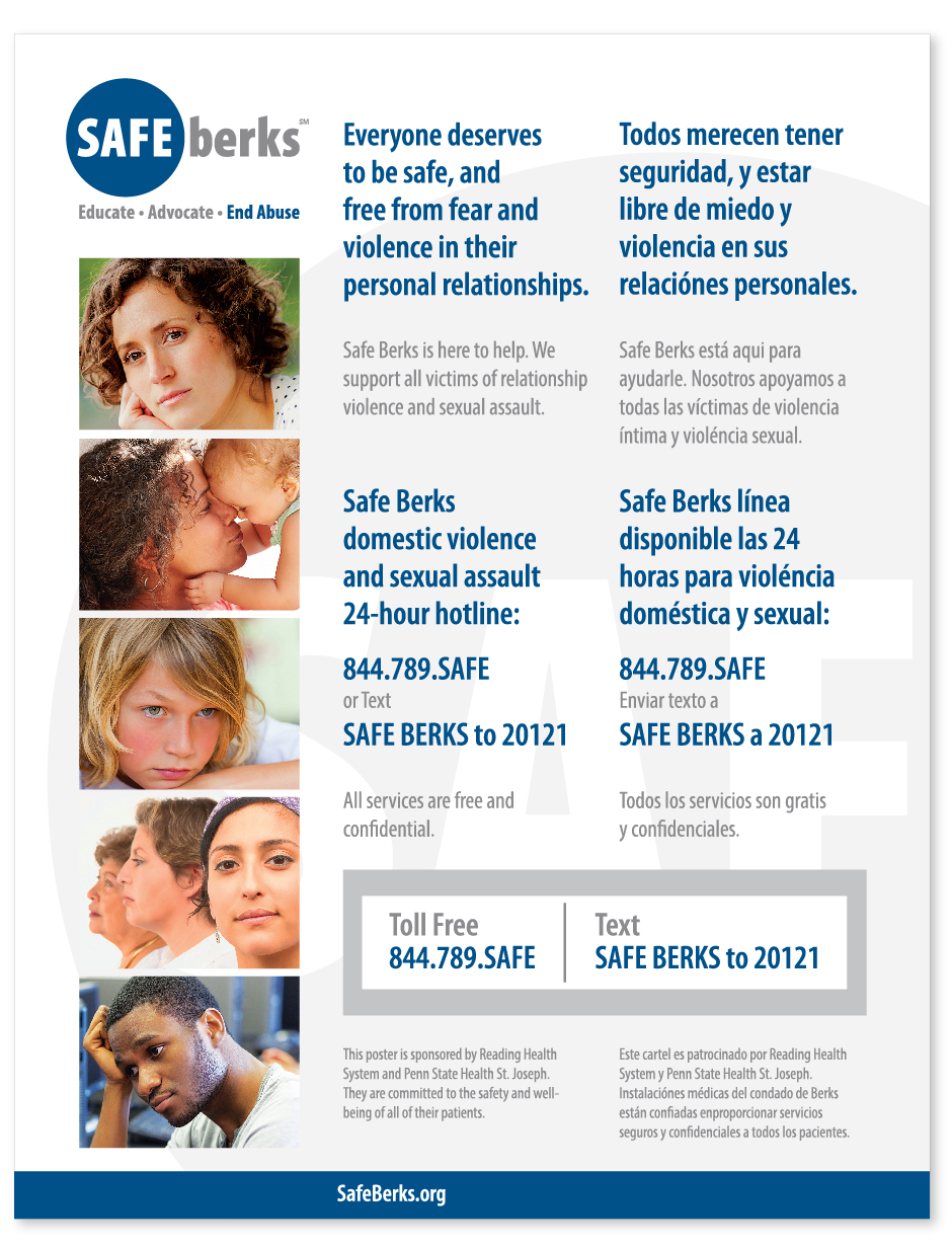Safe Berks Potty Poster, with people, read in English and Spanish