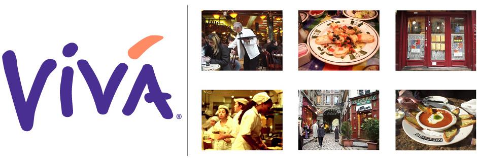Viva Logo on White Background with Six Photos in Paris, Las Vegas, New York City and Philadelphia