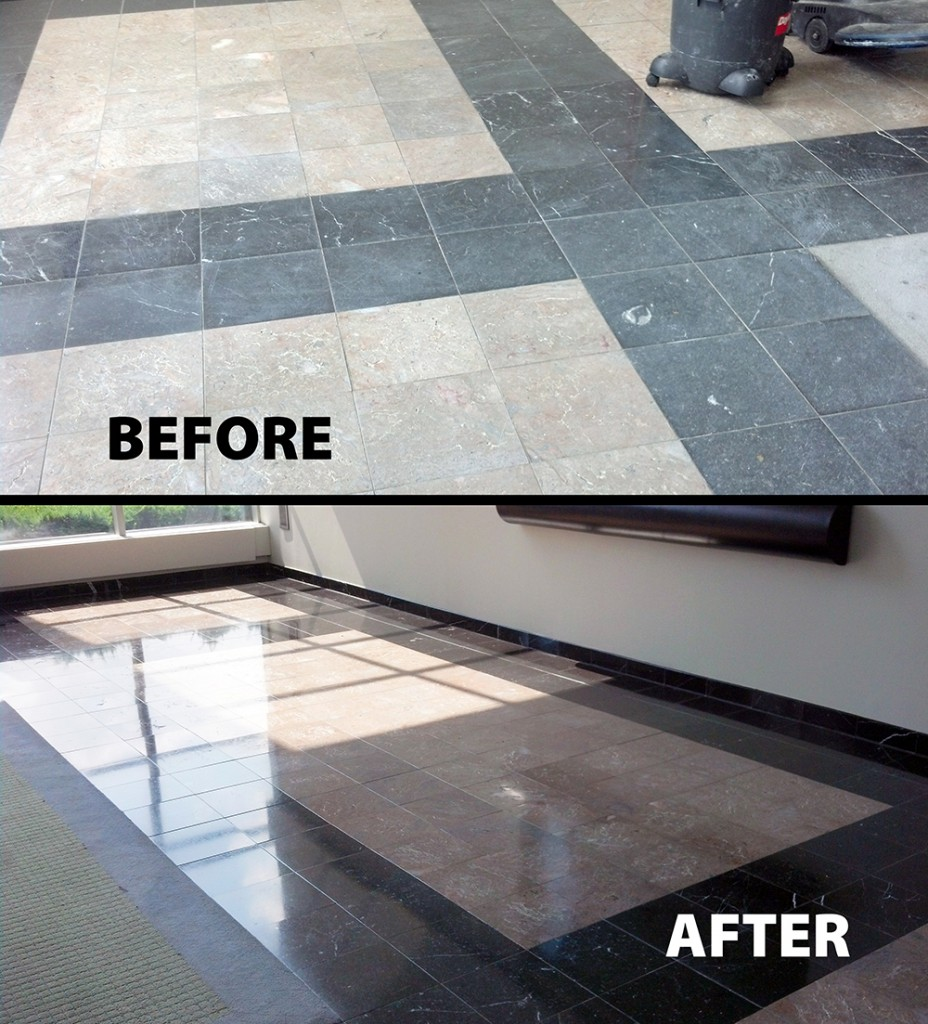 Before and after images of a floor that had 25 years of damage