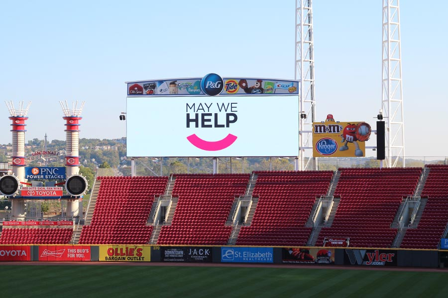 May We Help on the billboard at Great American Ballpark
