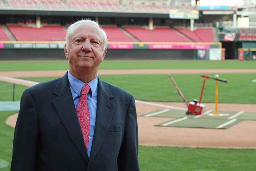 Bill Deimling with batting machine at Great American Ballpark