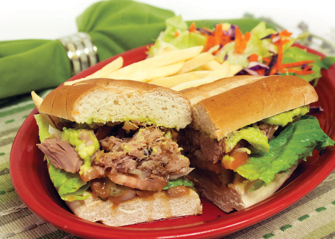 Slow cooked pork mexican sandwich
