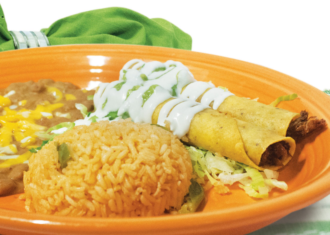 beef flautas served with rice and beans