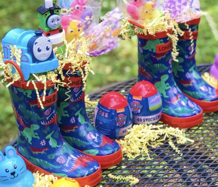 Rain Boot Easter Baskets for Toddlers