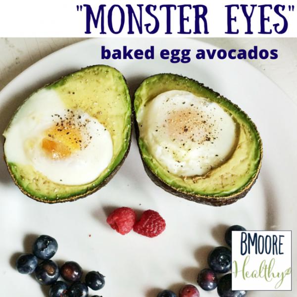 Monster Eyes baked egg avocados