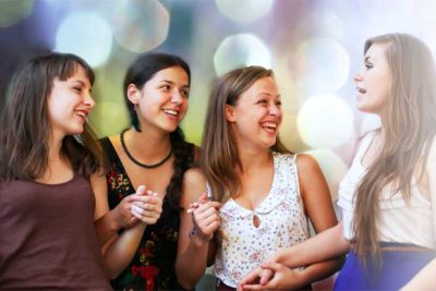 Students girls at conversation