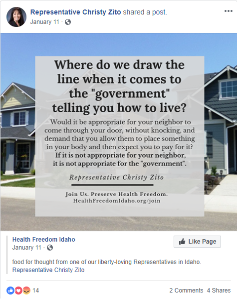 Representative Christy Zito connected Health Freedom Idaho with her post