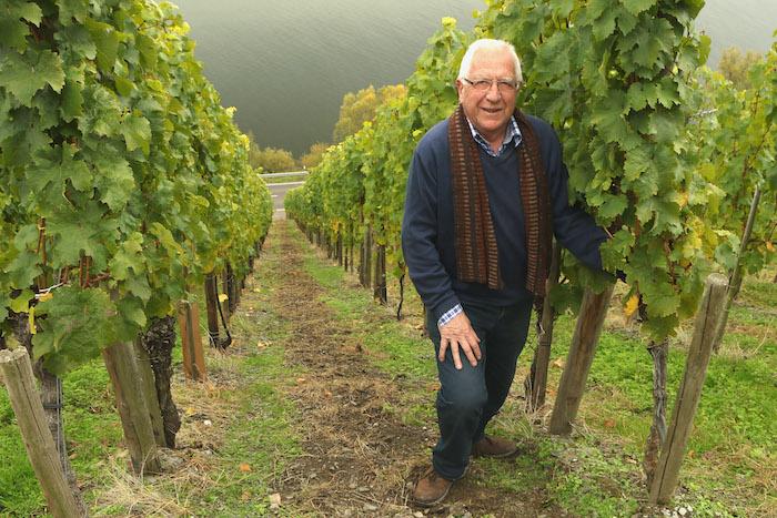 Fritz Haag winemaker Wilhelm Haag in the vineyard