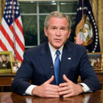 President George W. Bush delivers an Address to the Nation from the Oval Office,
