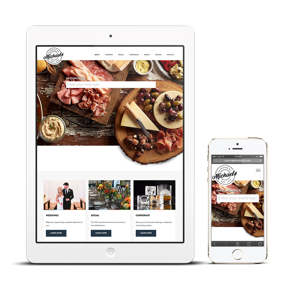 catering website on tablet and mobile