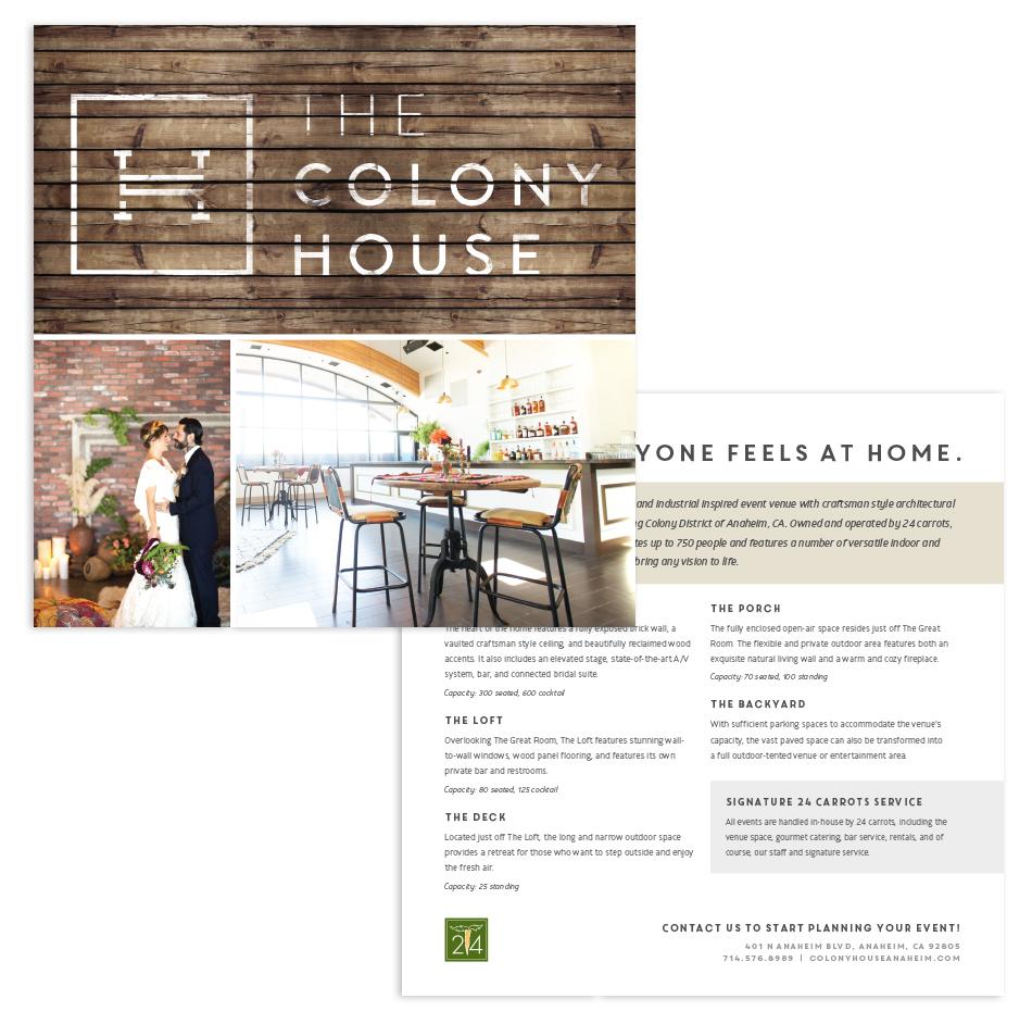 The Colony House Marketing Card