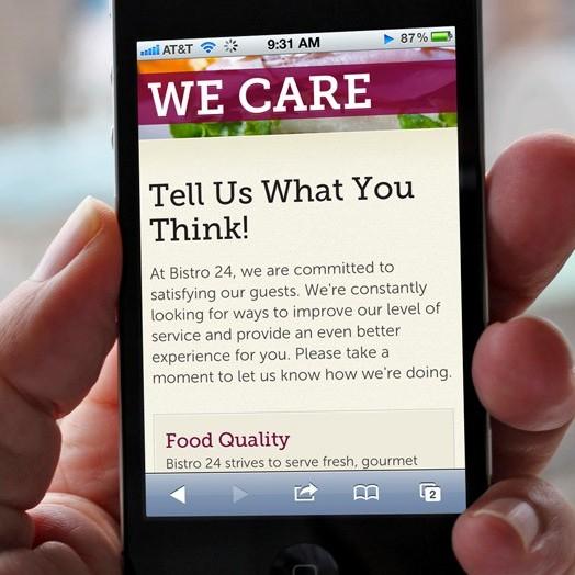 Bistro 24 mobile website