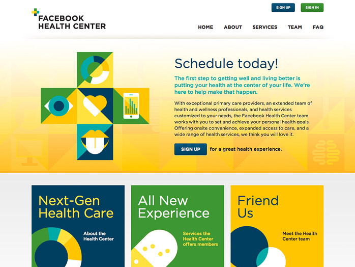 Facebook Health Center microsite screenshot