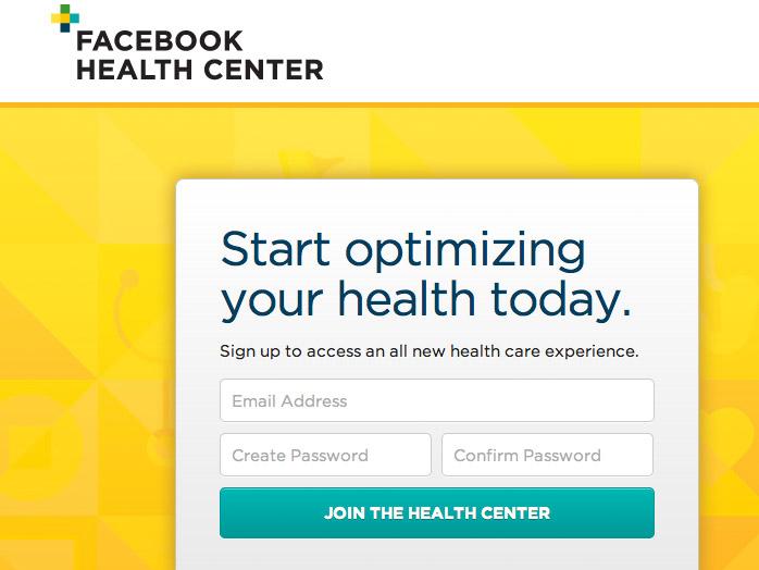 Facebook Health Center app interface
