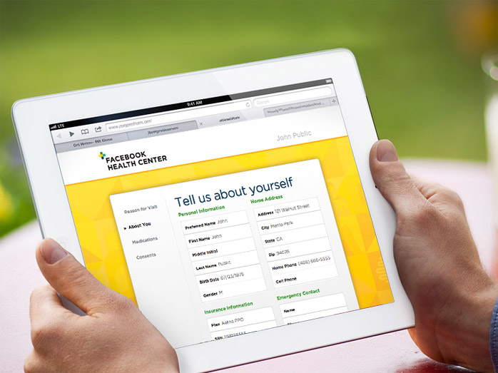 Facebook Health tablet interface