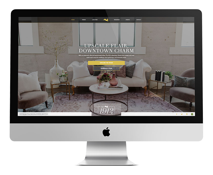 1912 venue home page on desktop