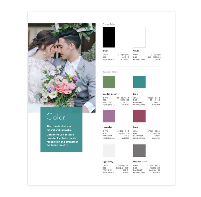 Franciscan Gardens brand colors