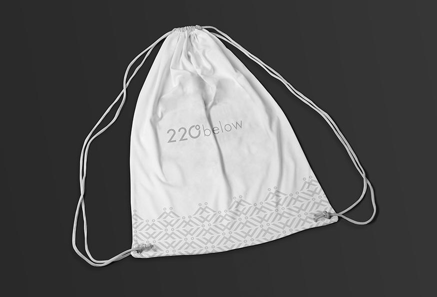 220 below branded drawstring bag