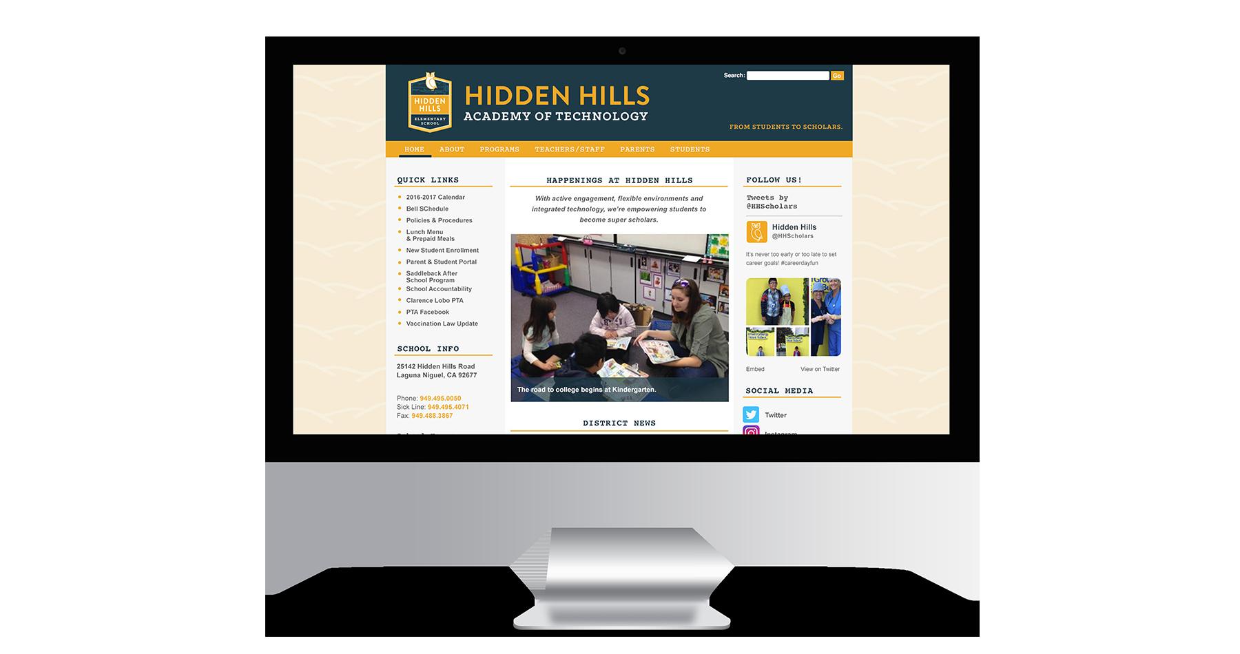 hidden hills elementary school website design