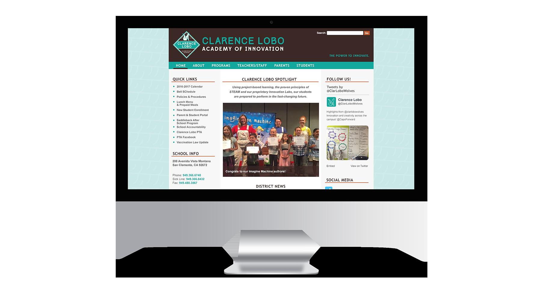 clarence lobo elementary school website design